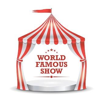 Tente de cirque. rayures rouges et blanches.