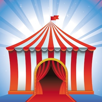 Tente de cirque de vecteur - concept de divertissement