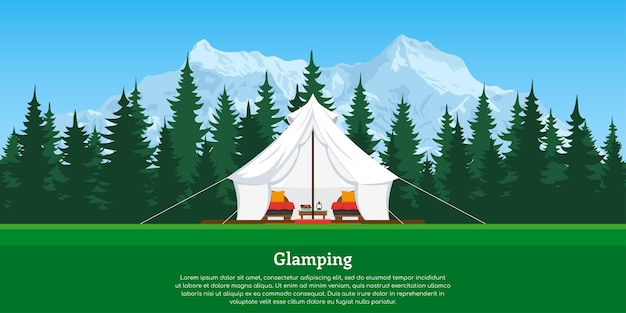 Tente confortable moderne avec forêt et montagnes en arrière-plan
