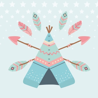 Tente indienne avec des flèches et des plumes indiennes style boho