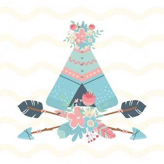 Tente indienne avec des fleurs et des flèches style boho