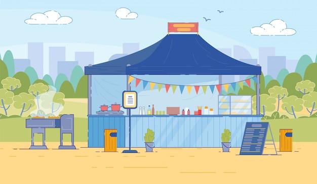 Tente de nourriture de rue de dessin animé avec menu dans un style plat