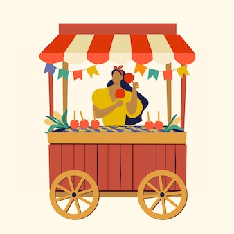 Tente de nourriture de rue, festa junina, fête des fêtes de juin, fête des bonbons à la pomme au brésil.