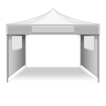 Tente pliante vide blanche, modèle de vecteur de chapiteau. maquette abri du soleil pour beach et gearden ill