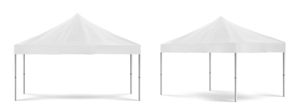 Tente de promotion pliante blanche, chapiteau mobile extérieur pour exposition marketing ou commerce devant