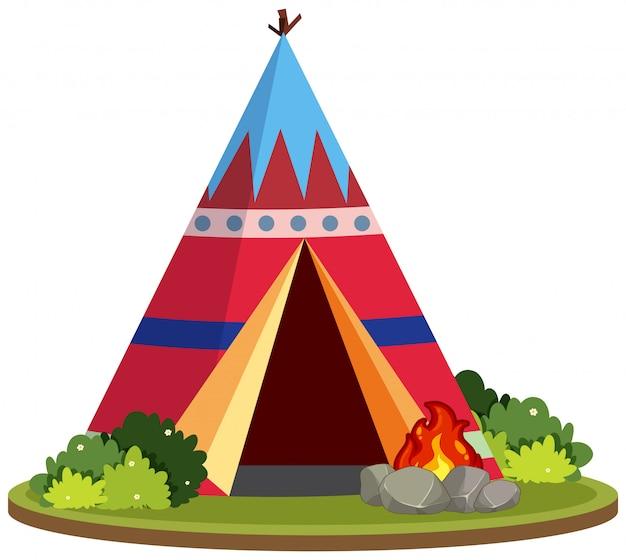Une tente à tipis colorée