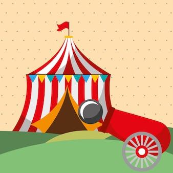 Tente tir canon canon carnaval fête foraine
