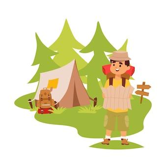 Tente touristique de camping-car en plein air, randonnée avec sac à dos, homme avec carte explorant la nature, personnage de dessin animé, aventures en plein air.