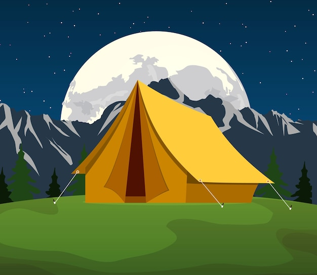 Tente touristique sous la lune et les étoiles