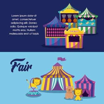 Tentes de cirque avec des animaux mignons