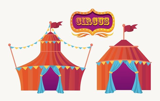 Tentes de cirque et bannière de divertissement icône illustration