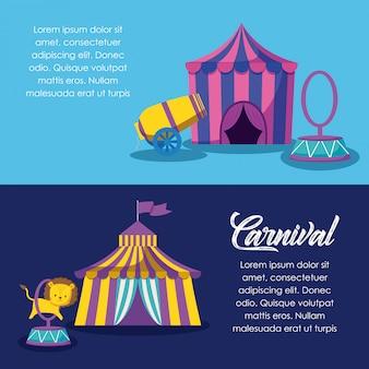 Tentes de cirque avec canon et anneau