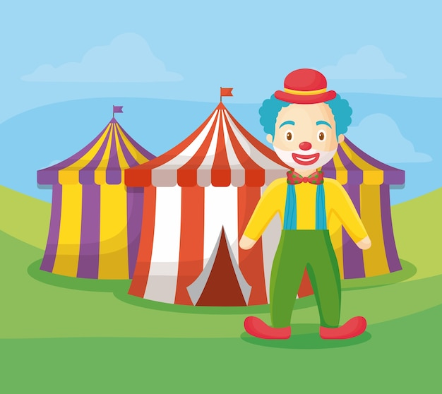 Tentes de cirque et clown de dessin animé