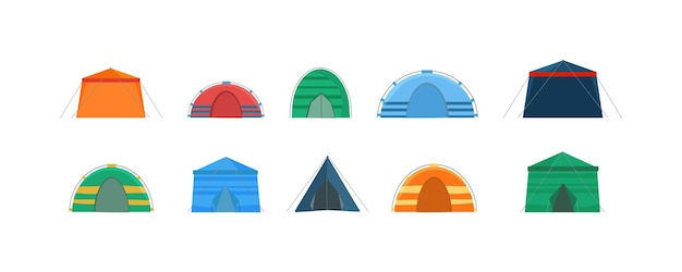 Tentes multicolores pour camper dans la nature et pour les célébrations en plein air.