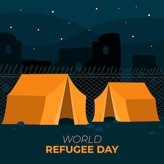 Tentes pour la journée mondiale des réfugiés