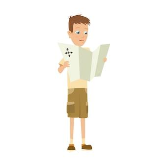 Tenue de camping scout garçon, illustration des activités de camp d'été.