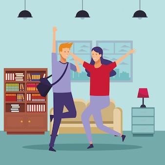 Tenue d'étudiant couple maison de danse