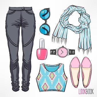 Tenue de printemps pour femme. robe et accessoires. illustration de dessin à la main