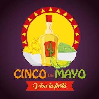 Tequila avec nachos et sauce d'avocat à l'événement