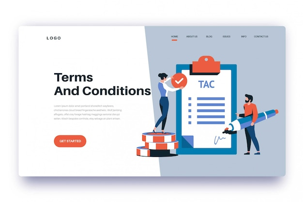 Termes et conditions de la page de destination