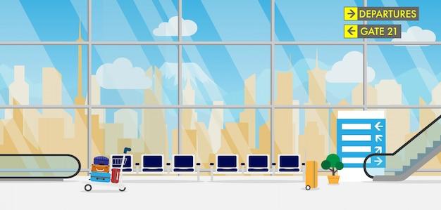 Terminal d'aéroport avec avion en arrière-plan