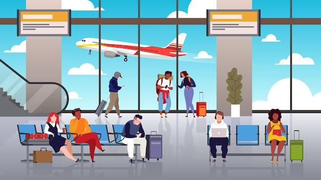 Terminal d'aéroport. les gens voyagent touristiques avec contrôle des bagages hall départ aéroport passagers transit décollage avion concept