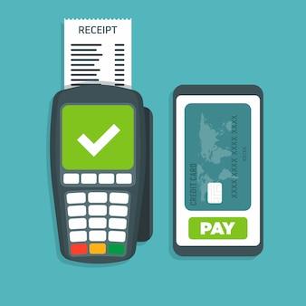 Le terminal pos confirme le paiement par smartphone vector illustration.
