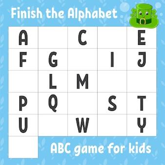 Terminez l'alphabet. jeu abc pour les enfants.