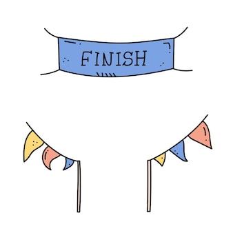 Terminez les bannières ou les drapeaux pour les événements sportifs en plein air. illustration vectorielle de compétition course