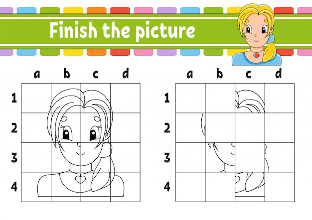 Terminez l'image. pages de livre de coloriage pour les enfants. feuille de travail de développement de l'éducation.