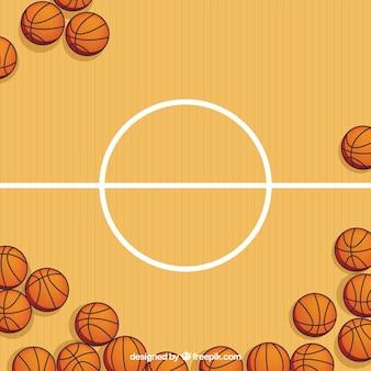 Terrain de basket-ball avec fond de boules