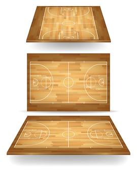 Terrain de basket en bois avec perspective.