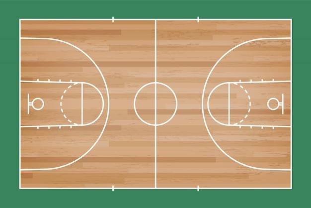 Terrain de basket avec une ligne sur fond bois.