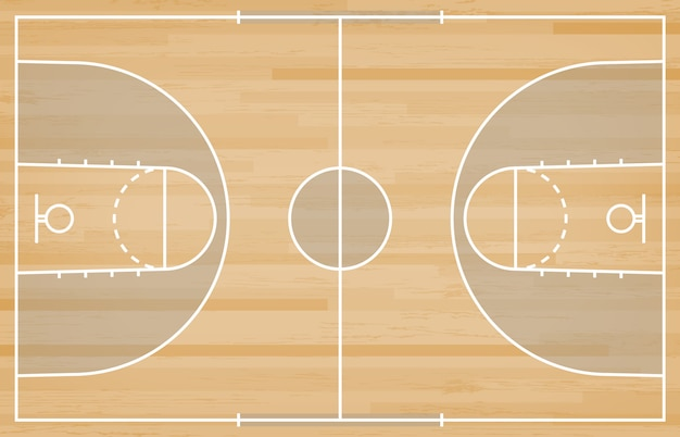 Terrain de basket avec ligne sur fond de texture bois