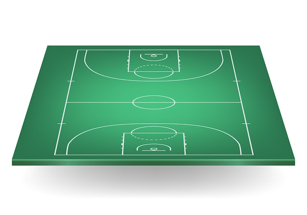 Terrain de basket vert.