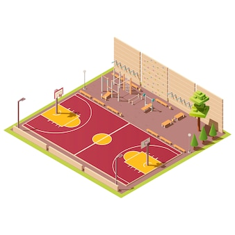 Terrain de basket et zone d'entraînement