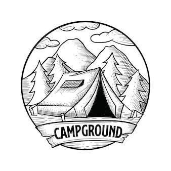 Terrain de camping dessiné à la main