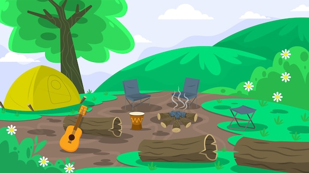 Terrain de camping - scènes extérieures