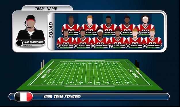 Terrain de football américain avec ensemble d'éléments infographiques