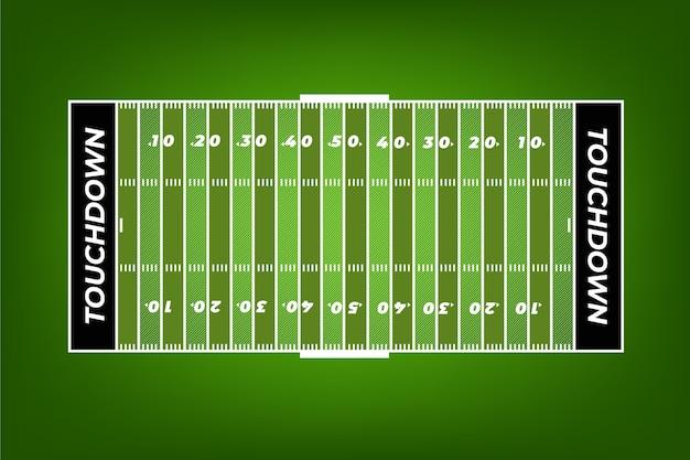 Terrain de football américain en illustration vue de dessus