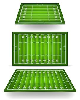 Terrain de football américain avec perspective.