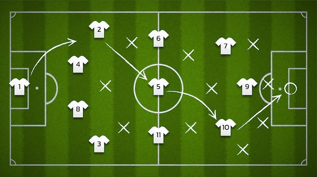 Terrain de football ou fond de terrain de football de la vue de dessus avec l'icône du joueur de football, illustration.
