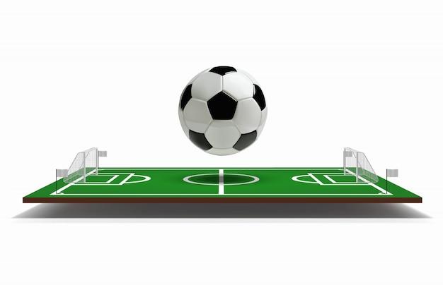 Terrain de football ou de football avec ballon de football.