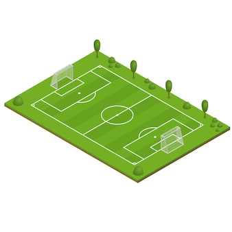 Terrain de football d'herbe verte. vue isométrique.