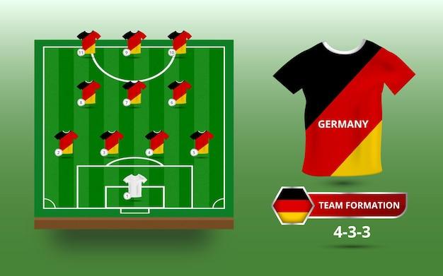 Terrain de football avec illustration de la formation de l'équipe