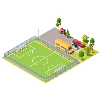 Terrain de football isométrique près d'un parking