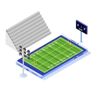 Terrain de football isométrique sur smartphone.