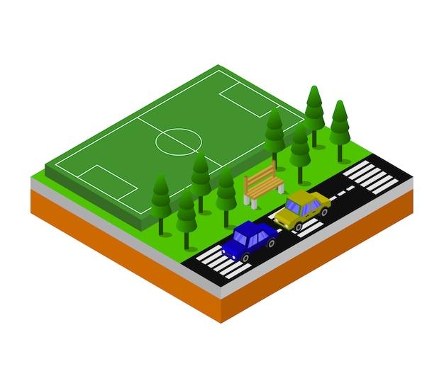 Terrain de football isométrique