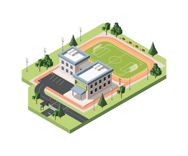 Terrain de football de lycée isométrique.