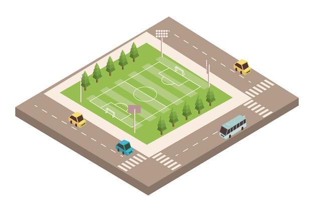Terrain de football et route